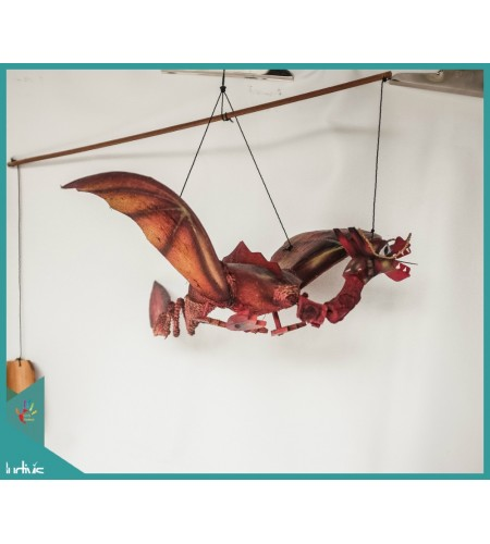 Production Red Dragon Garden Hanging Bamboo Wind Chimes