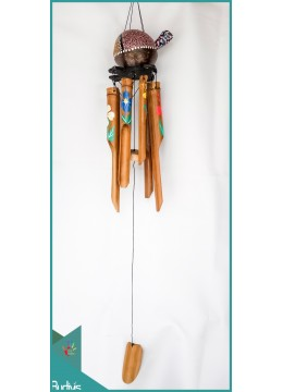 Manufactured Garden Hanging Turtle Painted Bamboo Wind Chimes