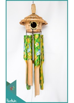 Wholesale Bird House Garden Hanging Hand Painted Blue Ocean Bamboo Wind Chimes