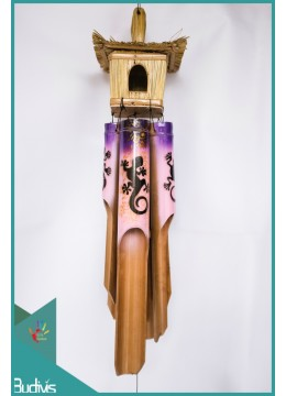 Manufactured Bird House Garden Hanging Hand Painted Lizard Bamboo Wind Chimes