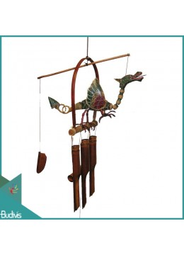 Production Out Door Hanging Dragon Dot Painted Bamboo Wind Chimes