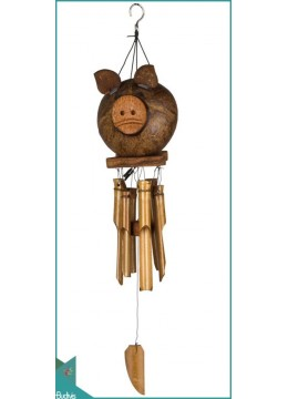 Top Selling Out Door Hanging Coco Pig Bamboo Wind Chimes