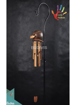 Top Out Door Hanging Coco Turtle Bamboo Wind Chimes