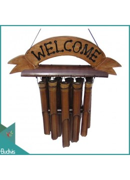 Wholesale Out Door Hanging Bamboo Wind Chimes With Board Greeting