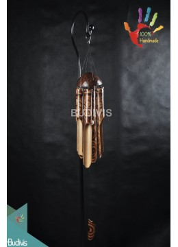 Bali Out Door Hanging Burned Bamboo Wind Chimes