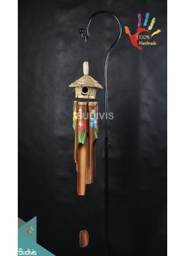 Bird House Flower Painting Out Door Hanging Bamboo Windchimes