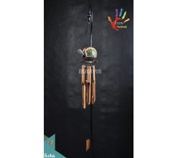 Bali Wholesale Turtle Dotted Painting In Handmade Out Door Hanging Bamboo Windchimes