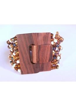 Beaded Bracelet Wood Clasp
