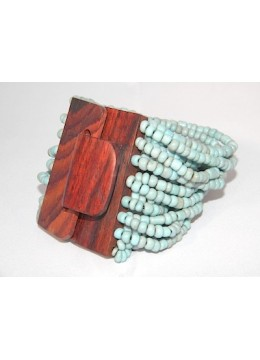 Beaded Bracelet Wood Buckle
