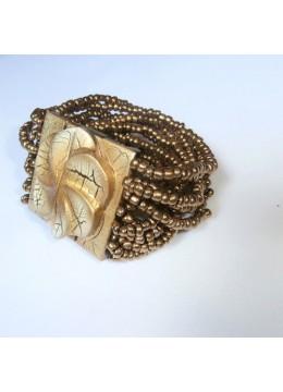 Beaded Wood Buckle Bracelet