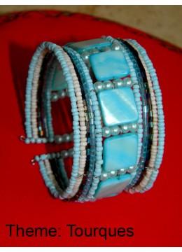 Direct Artisans Wire Choker Beaded Bracelet Mop Shell