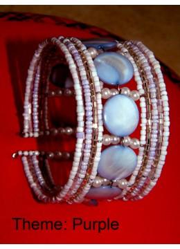 Bali Wire Choker Beaded Bracelet Mop Shell