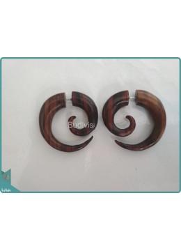 Wooden Spiral Earrings Sterling Silver Hook 925