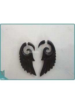 Wooden Earring With Wing Style Sterling Silver Hook 925