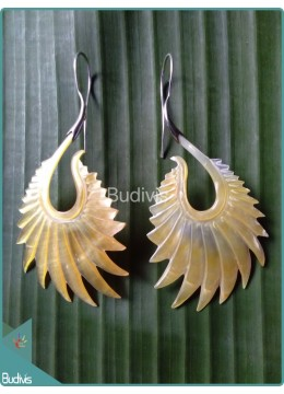 Pair Sea Shell Earring With Wing Style Sterling Silver Hook 925
