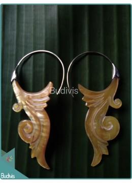Seashell Carving Body Piercing Sterling Silver Hook 925