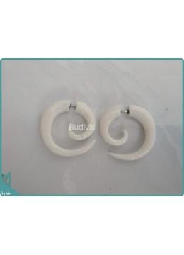 White Spiral Earrings Sterling Silver Hook 925