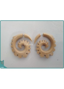 Crafted Wooden Spiral Earring  Sterling Silver Hook 925
