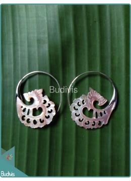 Seashell Earring With Hearts Pattern Sterling Silver Hook 925