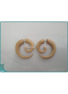 Spiral Earring With Natural Colour Sterling Silver Hook 925