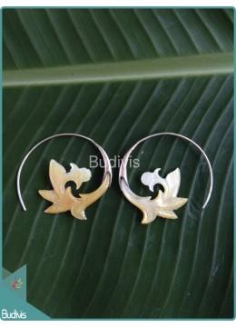 Seashell Earring With Flower Pattern Sterling Silver Hook 925