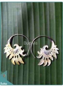 Seashell Earring With Koru Style Sterling Silver Hook 925