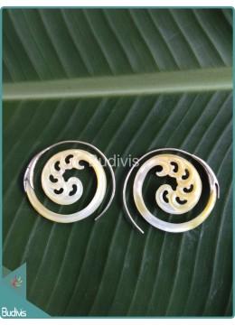Seashell Koru Spiral Earring Sterling Silver Hook 925
