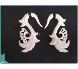 Bone Earrings With Maori Style Sterling Silver Hook 925