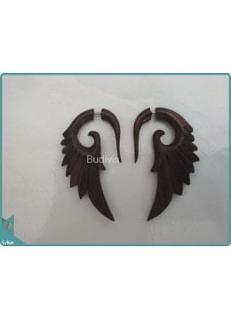 Black Wooden Wing Earrings Sterling Silver Hook 925
