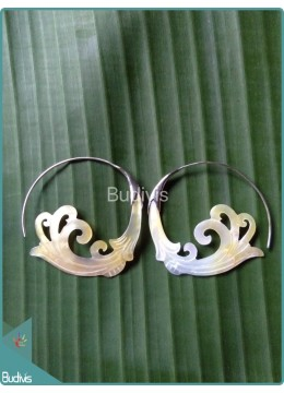 Seashell Body Piercing With Tribal Style Sterling Silver Hook 925