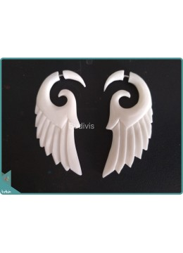 Bone Wing Style Earrings Sterling Silver Hook 925
