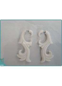 Bone Maori Style Earrings Sterling Silver Hook 925