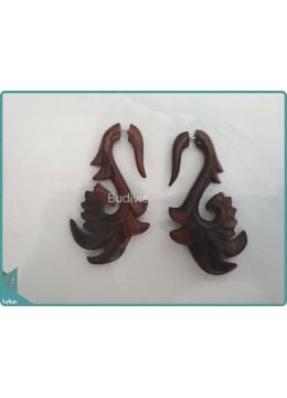 Brown Wood Earrings Sterling Silver Hook 925