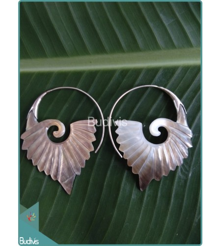 wholesale bali Koru Maori Style Seashell Earrings Sterling Silver Hook 925