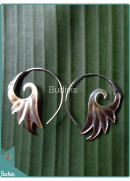 Circle Seashell Earrings With  Sterling Silver Hook 925