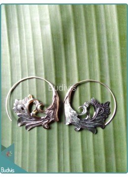 Circle Seashell Carving Earring  Sterling Silver Hook 925