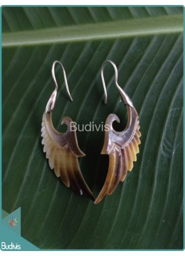 Seashell Earrings With Simple Wing Style Sterling Silver Hook 925