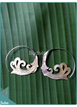 Flower Koru Style Earrings Sterling Silver Hook 925