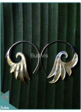 Circle Seashell Wing Earrings Sterling Silver Hook 925