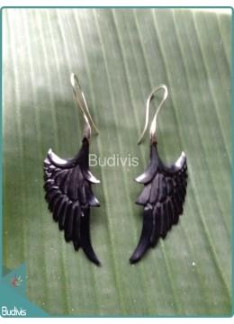 Black Wood Earring Sterling Silver Hook 925