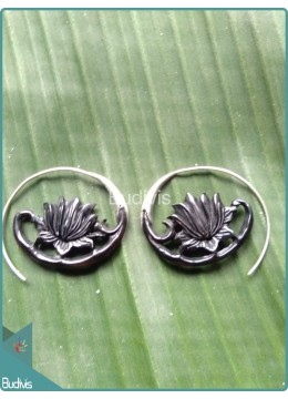 Horn Lotus Earrings  Sterling Silver Hook 925