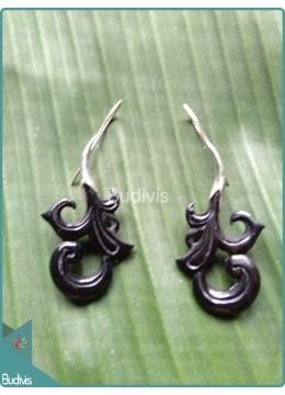 Koru Style Horn Carved Earrings Sterling Silver Hook 925