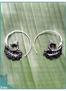 Maori Style Horn Carved Earrings Sterling Silver Hook 925