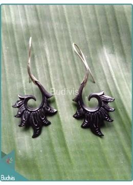 Black Fire Wooden Earrings Sterling Silver Hook 925