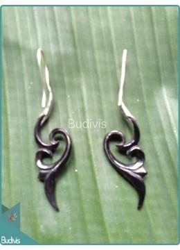 Horn Floral Tribal Earrings Sterling Silver Hook 925