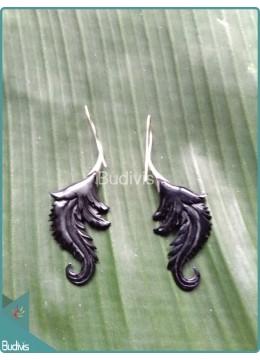Leaf Style Wooden Earrings Sterling Silver Hook 925