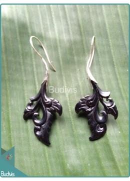Leaf Carving Earrings With Koru Style Sterling Silver Hook 925