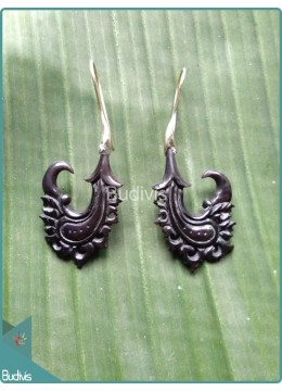 Scorpion Tail Theme Wooden Earrings Sterling Silver Hook 925