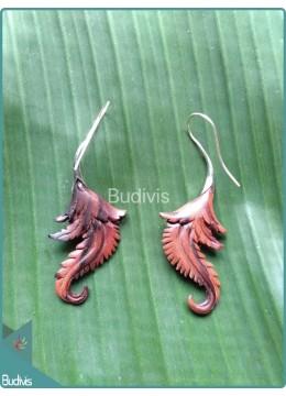 Nature Wood Color Earrings Sterling Silver Hook 925