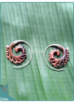 Circle Floral Theme Earrings Sterling Silver Hook 925